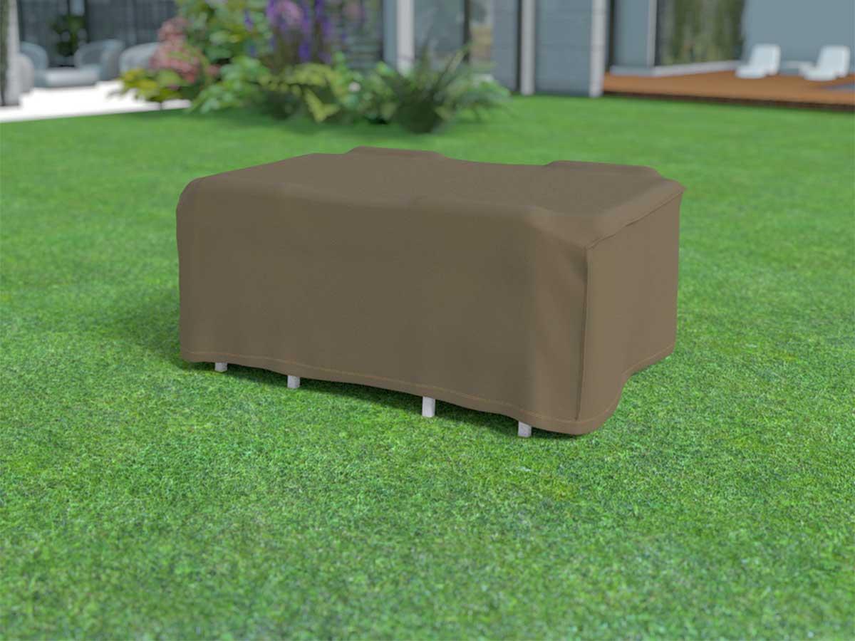 Housse de protection pour table rectangulaire + 4 chaises COVERTOP - Taupe - 225 x 145 x 90 cm