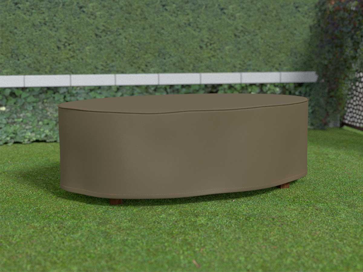 Housse de protection pour table ovale COVERTOP - Taupe - 230 x 130 x 70 cm