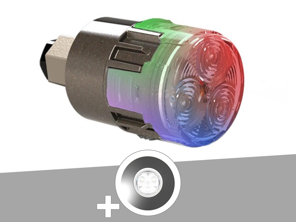 Projecteur LED 15W RGBW X15 Mini-Brio 1 + Enjoliveur blanc piscine béton - CCEI