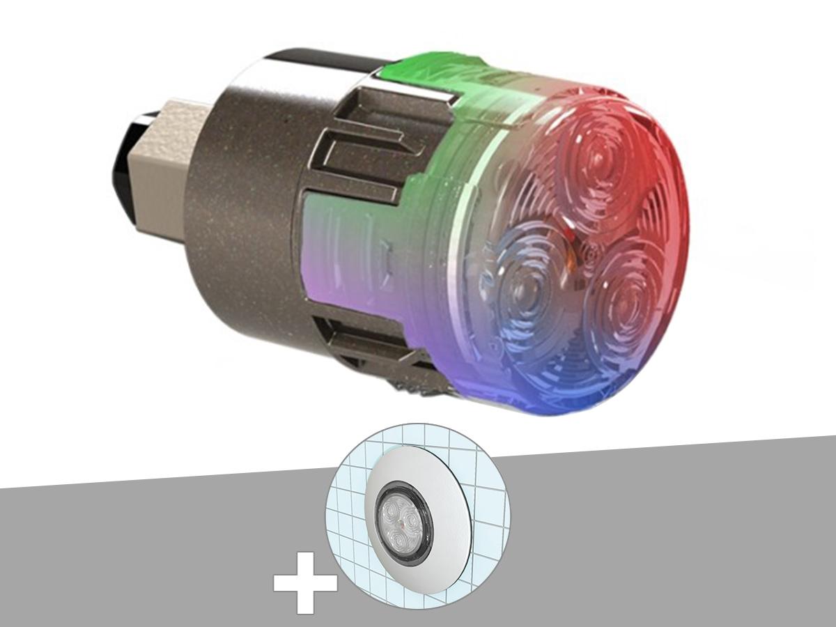 Projecteur LED 15W RGBW X15 Mini-Brio 1 + Traversée de paroi blanche piscine coque - CCEI
