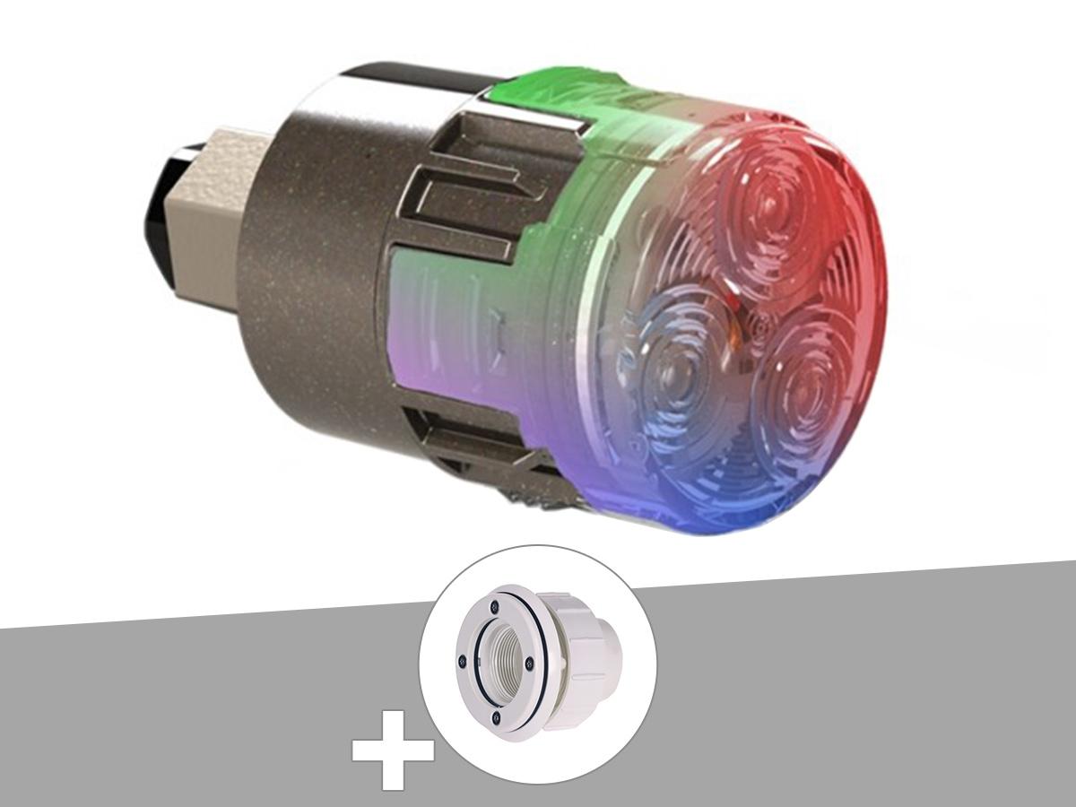 Projecteur LED 15W RGBW X15 Mini-Brio 1 + Traversée de paroi blanche piscine liner - CCEI