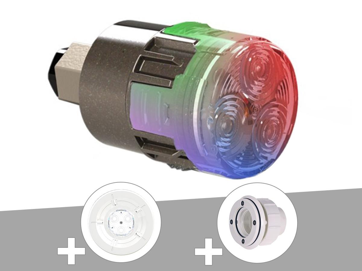 Projecteur LED 15W RGBW X15 Mini-Brio 1 + Traversée de paroi blanche + Enjoliveur blanc piscine liner - CCEI