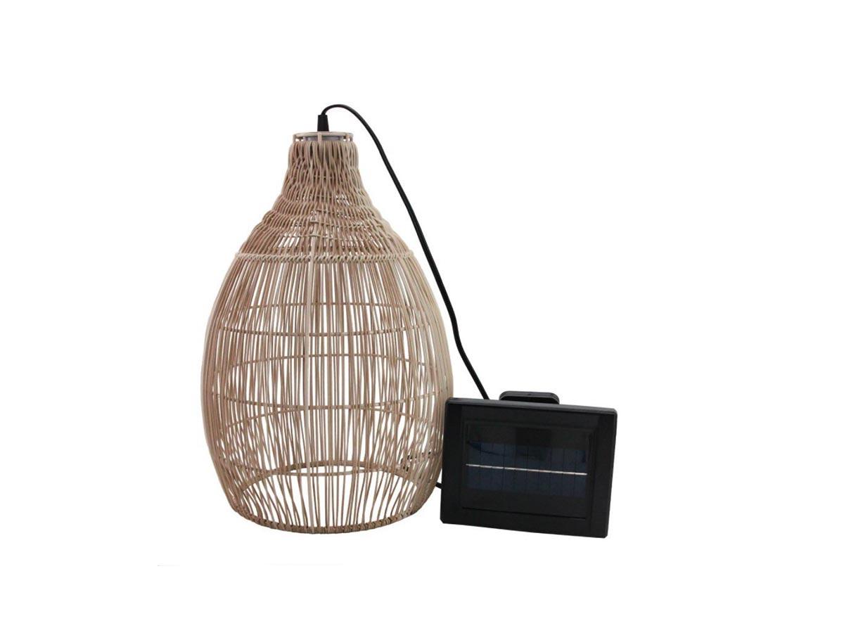 Suspension solaire bohème naturel style vannerie tressée LED blanc chaud HOLIDAY H 42 cm