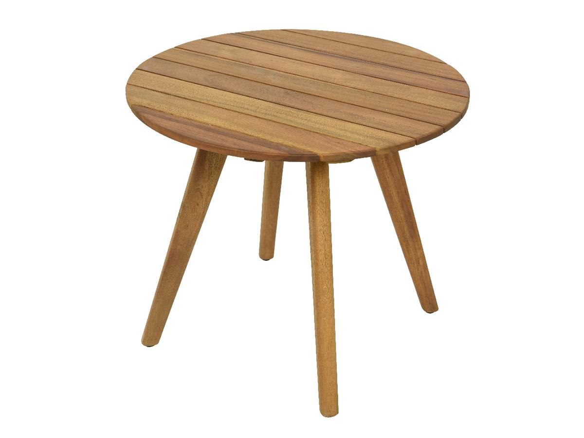 Table d'appoint Séville ronde en bois couleur naturel 55 x 47 cm
