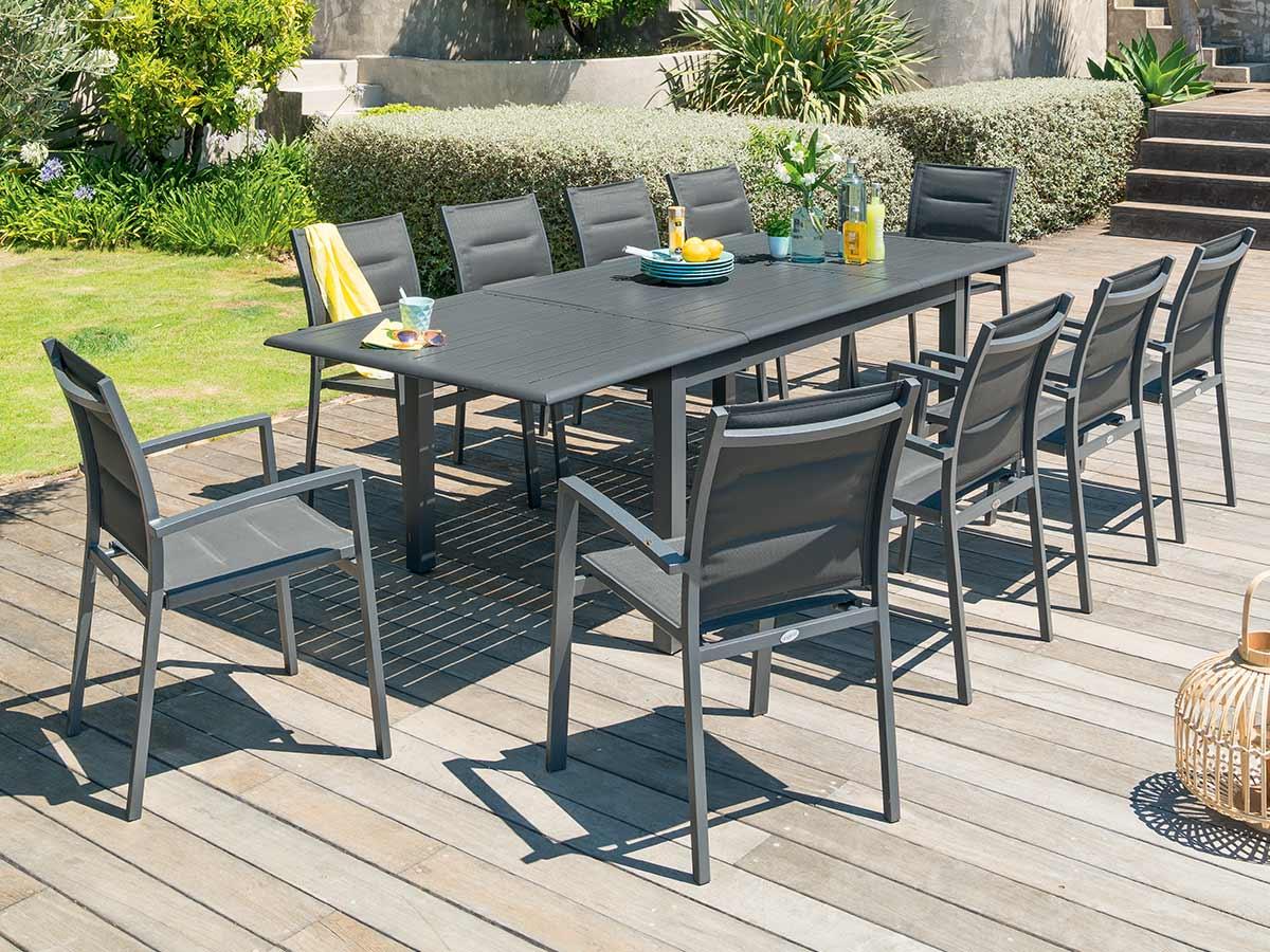 Table extensible rectangulaire Azua alu 6/10 places Graphite - Hespéride