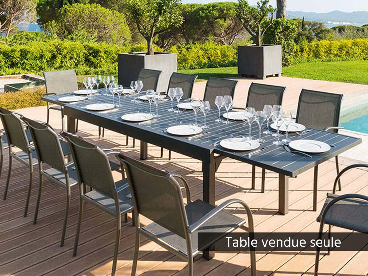 Table extensible rectangulaire alu Piazza 10/12 places Graphite - Hespéride