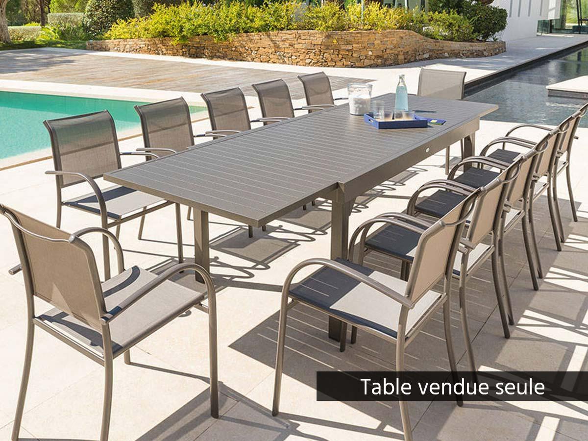 Table extensible rectangulaire alu Piazza 10/12 places Tonka - Hespéride