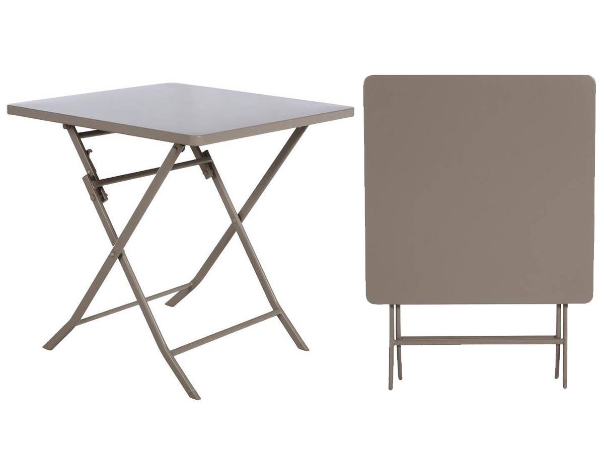 Table de jardin carrée Greensboro 70 x 70 cm Taupe - Hespéride
