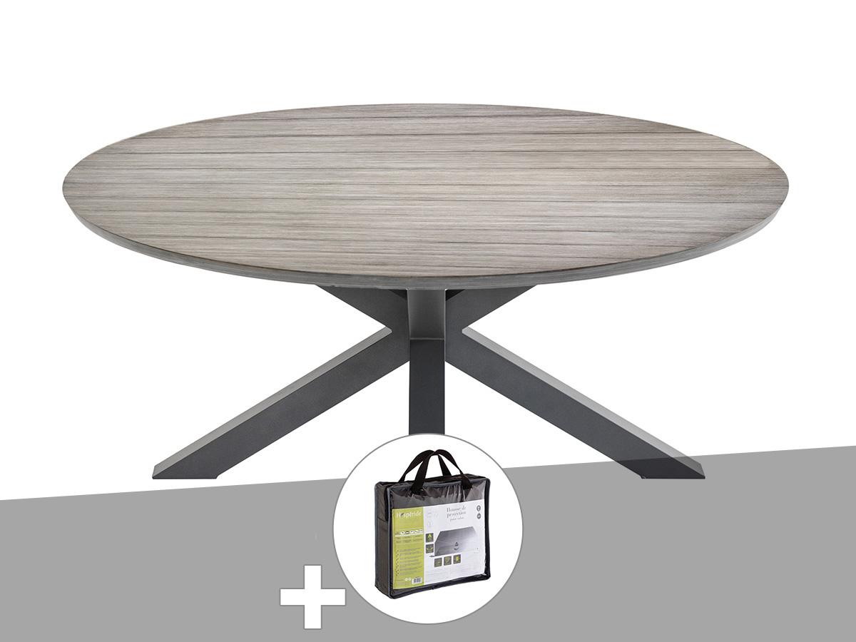 Table de jardin ronde Embruns Ø 160 cm avec housse de protection - Hespéride
