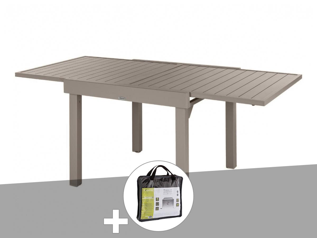 Table extensible carrée alu Piazza 4/8 places Tonka avec housse de protection - Hespéride
