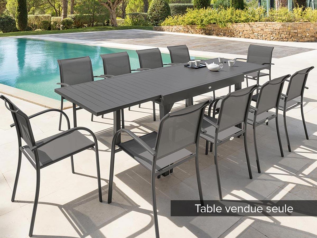 Table extensible rectangulaire alu Piazza 6/10 places Gris Quartz - Hesperide