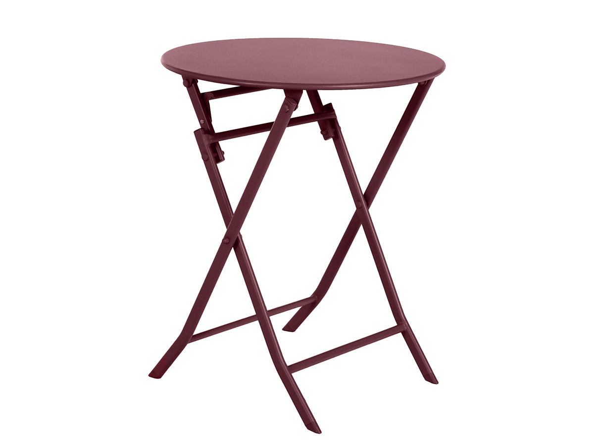 Table de jardin ronde Greensboro Ø 60 cm Bordeaux - Hespéride