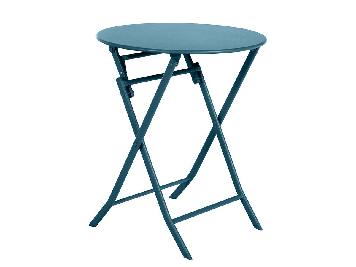 Table de jardin ronde Greensboro Ø 60 cm Bleu Canard - Hespéride