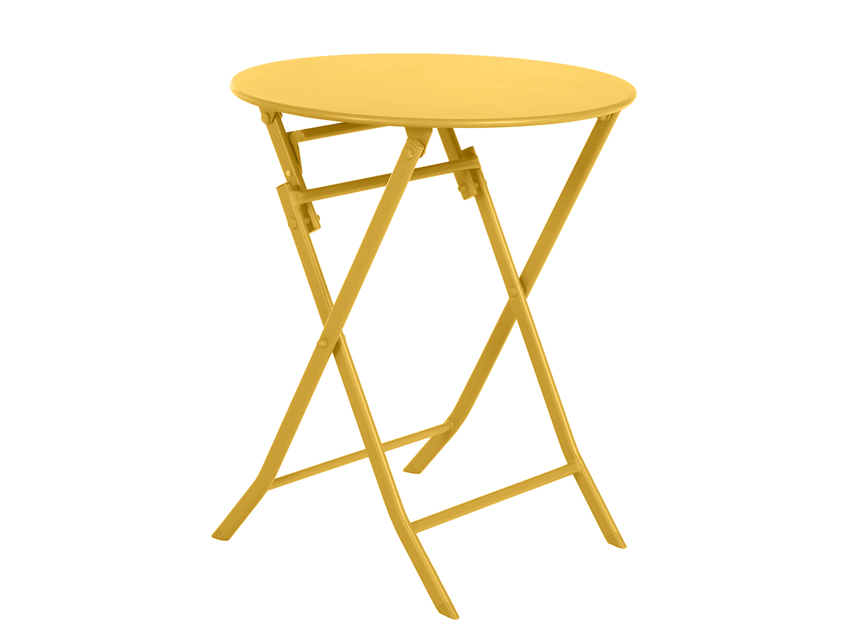 Table de jardin ronde Greensboro Ø 60 cm Moutarde - Hespéride